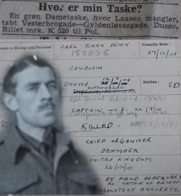 Carl Johan Bruhn alias CHILLBLAIN / Killed near Haslev while parachuting Dec 27th 1941.